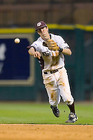Brodie Greene #4 of the Texas A&M Aggies makes a throw to first base versus the Houston Cougars in the 2009 Houston College Classic at Minute Maid Park March 1, 2009 in Houston, TX.  The Aggies defeated the Cougars 5-3. (Photo by Brian Westerholt / Four Seam Images)