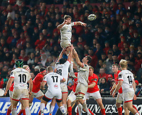 9th November 2019; Thomond Park, Limerick, Munster, Ireland; Guinness Pro 14 Rugby, Munster versus Ulster; Jordi Murphy of Ulster collects the line-out ball - Editorial Use