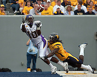 East Carolina wide receiver Jamar Bryant (10) looks to make a catch. The WVU Mountaineers defeated the East Carolina Pirates 35-20 at Mountaineer Field at Milan Puskar Stadium, Morgantown, West Virginia on September 12, 2009.
