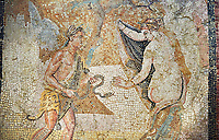 Picture of a Roman mosaics design depicting a Satyr persuing Bacchante, from the ancient Roman city of Thysdrus. End of 2nd century AD, House in Jiliani Guirat area. El Djem Archaeological Museum, El Djem, Tunisia.