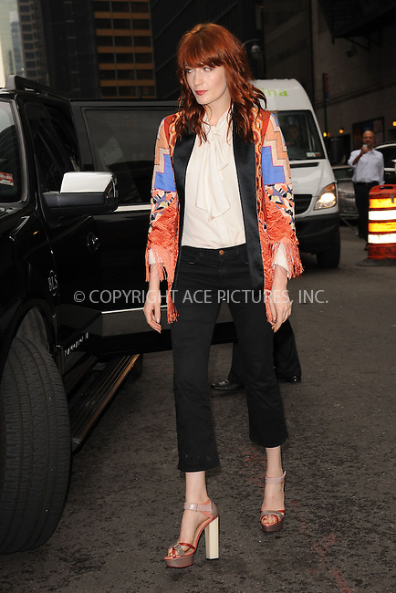 WWW.ACEPIXS.COM . . . . . .May 9, 2012...New York City....Florence Welch tapes an appearance on the Late Show with David Letterman on May 9, 2012  in New York City ....Please byline: KRISTIN CALLAHAN - ACEPIXS.COM.. . . . . . ..Ace Pictures, Inc: ..tel: (212) 243 8787 or (646) 769 0430..e-mail: info@acepixs.com..web: http://www.acepixs.com .