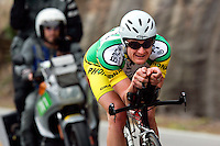 Floyd Landis, of Phonak Hearing Systems, descends Lookout Mountain in Wallker County, Ga., near the Tennessee border, during the Stage 3 individual time trial of the Ford Tour de Georgia pro cycling race on Thursday, April 20, 2006. Landis had the fastest time of 54:14.49 in the 24.8-mile (39.9km) stage and became the race leader.<br />