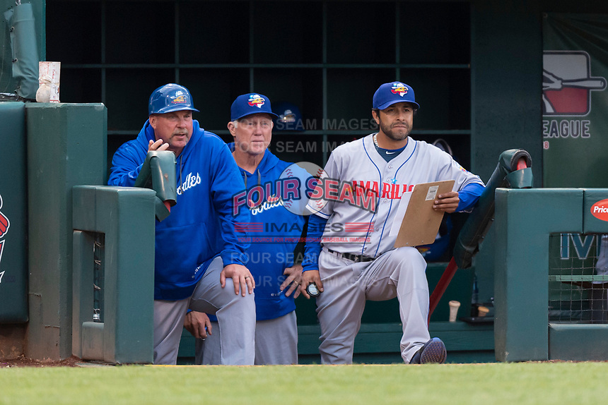 Amarillo Sod Poodles manager Phillip Wellman (left) with coaches Jimmy Jones (middle) and Raul Padron (right) during a Texas League game against the Springfield Cardinals on April 25, 2019 at Hammons Field in Springfield, Missouri. Springfield defeated Amarillo 8-0. (Zachary Lucy/Four Seam Images)
