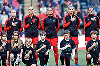 Portland, OR - Saturday May 06, 2017: Emily Sonnett, Allie Long, Nadia Nadim, Lindsey Horan prior to a regular season National Women's Soccer League (NWSL) match between the Portland Thorns FC and the Chicago Red Stars at Providence Park.