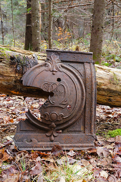 Artifact (stove piece) at logging Camp 4 of the Beebe River Railroad in Sandwich, New Hampshire. The Beebe River line was a logging railroad in operation from 1917-1942. The removal of historical artifacts from federal lands without a permit is a violation of federal law.