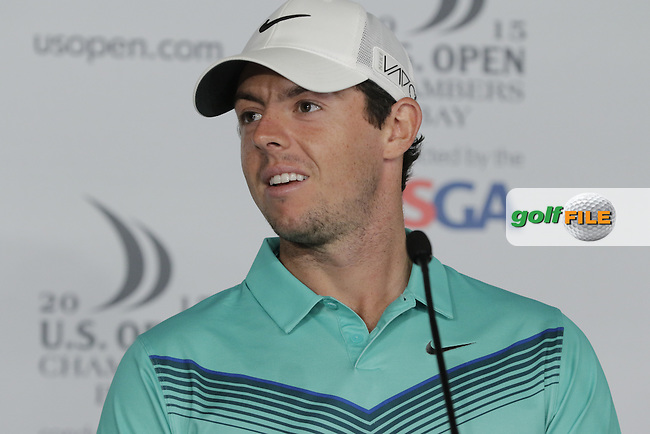 Rory MCILROY (NIR) press conference during Tuesday's Practice Day of the 2015 U.S. Open 115th National Championship held at Chambers Bay, Seattle, Washington, USA. 6/16/2015.<br /> Picture &copy; Golffile/Eoin Clarke