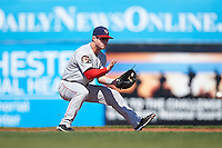 Auburn Doubledays second baseman Dalton Dulin (1) fields a ground ball during the first game of a doubleheader against the Batavia Muckdogs on September 4, 2016 at Dwyer Stadium in Batavia, New York.  Batavia defeated Auburn 1-0 in a continuation of a game started on August 13. (Mike Janes/Four Seam Images)