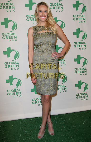 Ashlan Gorse.Global Green USA's 9th Annual Pre-Oscar Party held at the Avalon, Hollywood, California, USA..February 22nd, 2012.full length yellow grey gray sleeveless dress hand on hip.CAP/ADM.©AdMedia/Capital Pictures.