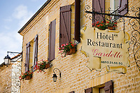 Hotel Restaurant Gardette sign, France Beautiful village of St Amand de Coly, Dordogne in Aquitaine, France
