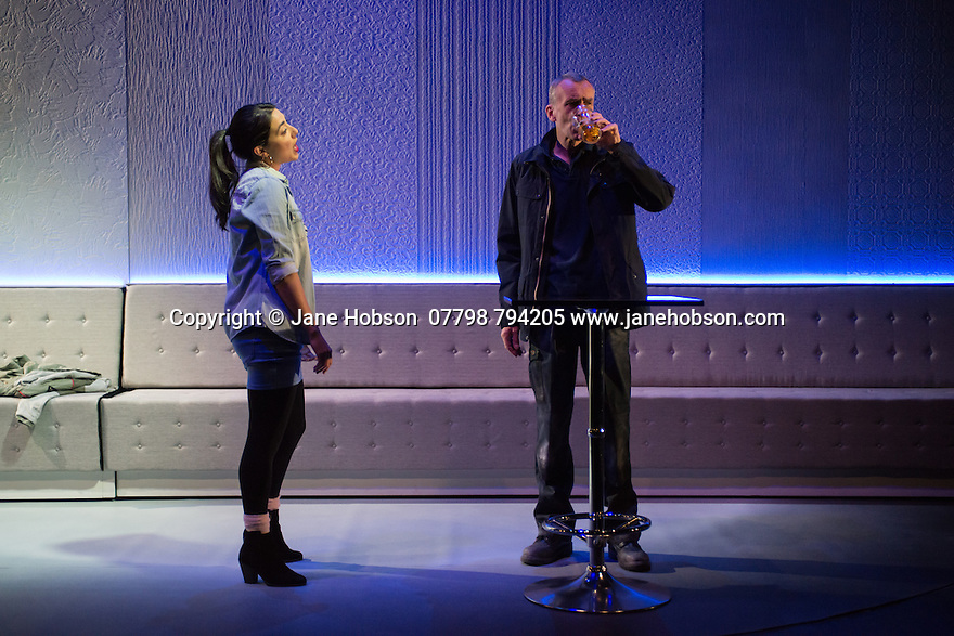 Edinburgh, UK. 01.08.2014.  UNFAITHFUL opens at the Traverse Theatre, as part of Edinburgh Festival Fringe. Picture shows: Amiera Darwash (Cara) and Benny Young (Tom). Photograph © Jane Hobson.