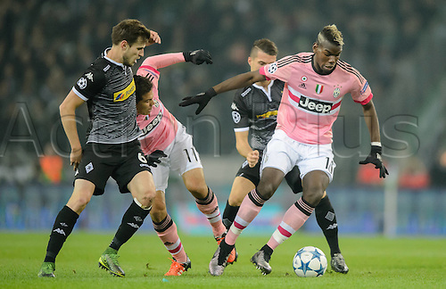03.11.2015. Moenchengladbach, Germany, UEFA Champions League football group stages. Borussia Moenchangladbach versus Juventus.  Havard Nordtveit against Paul Pogba of Juve