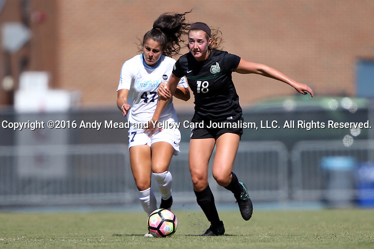 21 August 2016: Charlotte's Julia Grainda (18) and North Carolina's Alex Kimball (47). The University of North Carolina Tar Heels hosted the University of North Carolina Charlotte 49ers in a 2016 NCAA Division I Women's Soccer match. UNC won the game 3-0