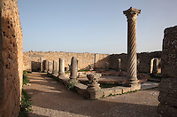 The House of the Columns, with columns of different styles around its central courtyard, including a spiral column with Corinthian capital, Volubilis, Northern Morocco. Volubilis was founded in the 3rd century BC by the Phoenicians and was a Roman settlement from the 1st century AD. Volubilis was a thriving Roman olive growing town until 280 AD and was settled until the 11th century. The buildings were largely destroyed by an earthquake in the 18th century and have since been excavated and partly restored. Volubilis was listed as a UNESCO World Heritage Site in 1997. Picture by Manuel Cohen