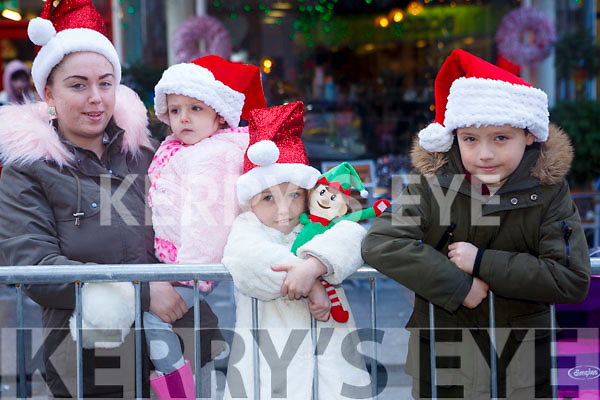 Waiting for Santa at CH Chemist Christmas Parade Tralee on Saturday were Dolores O Leary, Tyler O'Leary, Jamie Lee O'Leary and Kinley O'Leary