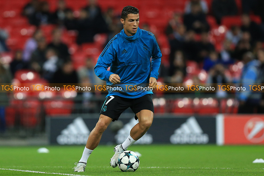 Cristiano Ronaldo of Real Madrid during the warm up between Tottenham Hotspur vs Real Madrid, UEFA Champions League Football at Wembley Stadium on 1st November 2017