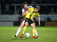 Burnley's Stephen Ward battles with Burton Albion's Jake Hesketh<br /> <br /> Photographer Mick Walker/CameraSport<br /> <br /> The Carabao Cup Round Three   - Burton Albion  v Burnley - Tuesday  25 September 2018 - Pirelli Stadium - Buron On Trent<br /> <br /> World Copyright © 2018 CameraSport. All rights reserved. 43 Linden Ave. Countesthorpe. Leicester. England. LE8 5PG - Tel: +44 (0) 116 277 4147 - admin@camerasport.com - www.camerasport.com
