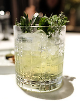 Modena, 24 February 2017 – A drink of Chartreuse and Genziana paired with foie gras petit fours  at Osteria Francescana, Modena, Italy. Photo Sydney Low