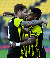 Rory Krishna (right) congratulates Armando Sosa Pena on his goal during the A-League football match between Wellington Phoenix and West Sydney Wanderers at Westpac Stadium in Wellington, New Zealand on Sunday, 17 March 2019. Photo: Dave Lintott / lintottphoto.co.nz
