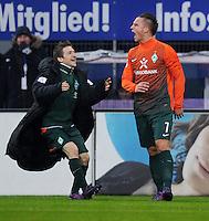 FUSSBALL   1. BUNDESLIGA   SAISON 2011/2012   22. SPIELTAG Hamburger SV - Werder Bremen       18.02.2012 Marko Marin (li) und Marko Arnautovic (re, beide SV Werder Bremen) jubeln nach dem 1:3