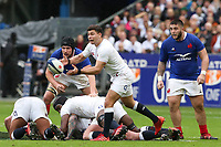 2nd February 2020, Stade de France, Paris; France, 6-Nations International rugby union, France versus England;  Ben Youngs (Eng) passes along his line watched by Cyril Baille (France)