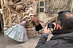Valencia-Spain, January 14, 2018; <br /> children in traditional, local costume pose at the rococo style - alabaster entrance of the González Martí National Museum of Ceramics and Decorative Arts;<br /> Photo © HorstWagner.eu