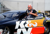 Sept. 6, 2010; Clermont, IN, USA; NHRA pro stock driver Warren Johnson during the U.S. Nationals at O'Reilly Raceway Park at Indianapolis. Mandatory Credit: Mark J. Rebilas-