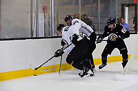 September 15, 2017: Boston Bruins center Frank Vatrano (72) is crushed between defenseman Zdeno Chara (33) and  defenseman Brandon Carlo (25) during the Boston Bruins training camp held at Warrior Ice Arena in Brighton, Massachusetts. Eric Canha/CSM