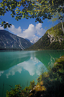 Reflections, Lake Plansee near Reutte, Austrian Alps.