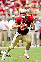 September 04, 2010:    Florida State Seminoles quarterback Christian Ponder (7) drops back to pass during first half action between the Florida State Seminoles and the Samford Bulldogs at Doak Campbell Stadium in Tallahassee, Florida.  Florida State defeated Samford 59-6.
