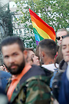 Peaceful concentration in front of the Russian embassy in Madrid in repudiation of alleged crimes of persecution, torture and extermination of homosexuals in Chechnya. April 21, 2017. (ALTERPHOTOS/Acero)