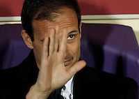 Calcio, Coppa Italia: semifinale di ritorno Fiorentina vs Juventus. Firenze, stadio Artemio Franchi, 7 aprile 2015. <br /> Juventus coach Massimiliano Allegri waves prior to the start of the Italian Cup semifinal second leg football match between Fiorentina and Juventus at Florence's Artemio Franchi stadium, 7 April 2015.<br /> UPDATE IMAGES PRESS/Isabella Bonotto