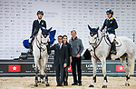Nathaniel Chan of Hong Kong riding Lay Your Love On Z poses for a photo with equestrian Ludger Beerbaum, Hong Kong Equestrian Federation President Michael Lee and Michelle Li of Hong Kong riding Fiona DEcaussinnes at the JETS Challenge during the Longines Masters of Hong Kong at AsiaWorld-Expo on 10 February 2018, in Hong Kong, Hong Kong. Photo by Diego Gonzalez / Power Sport Images