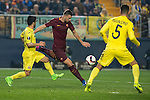 Edin Dzeko of AS Roma kicks the ball during the match Villarreal CF vs AS Roma, part of the UEFA Europa League 2016-17 Round of 32 at the Estadio de la Cerámica on 16 February 2017 in Villarreal, Spain. Photo by Maria Jose Segovia Carmona / Power Sport Images
