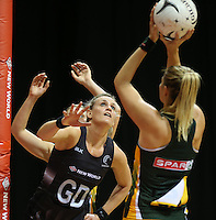 26.07.2015 Silver Ferns Leana de Bruin in action during the Silver Fern v South Africa netball test match played at Claudelands Arena in Hamilton. Mandatory Photo Credit ©Michael Bradley.