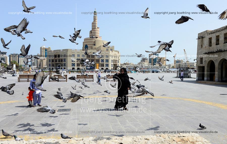QATAR, Doha, spiral mosque, Fanar, Qatar Islamic Culture Center, muslim qatari woman with asian house maid /  KATAR, Doha, Moschee und FANAR (Qatar Islamic Cultural Center), qatarische Frau mit Kindermaedchen