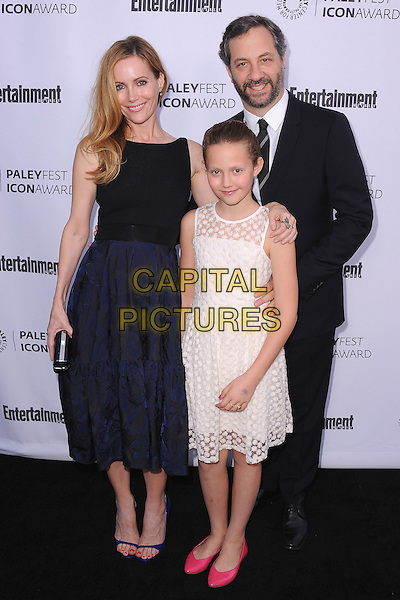 BEVERLY HILLS, CA - MARCH 10:   Leslie Mann, Judd Apatow and daughter Iris Apatow arrive at the 2014 PaleyFest Icon Award to Judd Apatow at the Paley Center for the Media on March 10, 2014 in Beverly Hills, California. <br /> CAP/MPI/213<br /> &copy;MPI213/MediaPunch/Capital Pictures