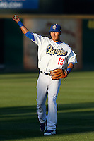 Noel Cuevas #13 of the Rancho Cucamonga Quakes before a game against the Lake Elsinore Storm at LoanMart Field on August 6, 2013 in Rancho Cucamonga, California. Lake Elsinore defeated Rancho Cucamonga, 13-5. (Larry Goren/Four Seam Images)