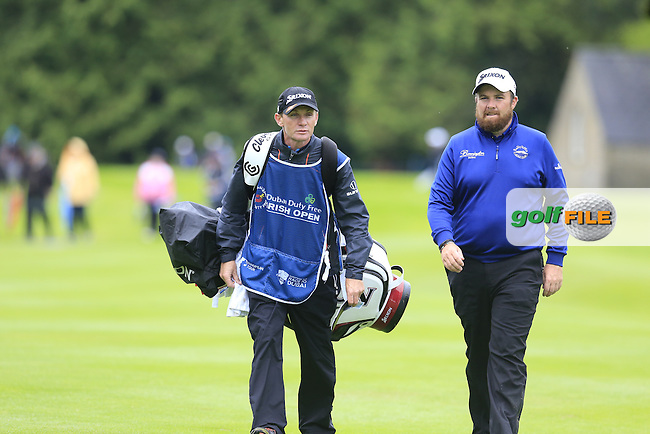 Shane Lowry (IRL) and caddy Dermot Byrne on the 17th hole during Thursday's Round 1 of the 2016 Dubai Duty Free Irish Open hosted by Rory Foundation held at the K Club, Straffan, Co.Kildare, Ireland. 19th May 2016.<br /> Picture: Eoin Clarke | Golffile<br /> <br /> <br /> All photos usage must carry mandatory copyright credit (&copy; Golffile | Eoin Clarke)