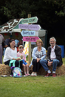 Pictured L-R: Helen Williams, Riley Carey, Helen and Vince Williams Saturday 13 August 2016<br />Re: Grow Wild event at  Furnace to Flowers site in Ebbw Vale, Wales, UK