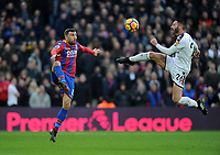 Crystal Palace's James McArthur vies for possession with Burnley's Phillip Bardsley<br /> <br /> Photographer Ashley Crowden/CameraSport<br /> <br /> The Premier League - Crystal Palace v Burnley - Saturday 13th January 2018 - Selhurst Park - London<br /> <br /> World Copyright &copy; 2018 CameraSport. All rights reserved. 43 Linden Ave. Countesthorpe. Leicester. England. LE8 5PG - Tel: +44 (0) 116 277 4147 - admin@camerasport.com - www.camerasport.com