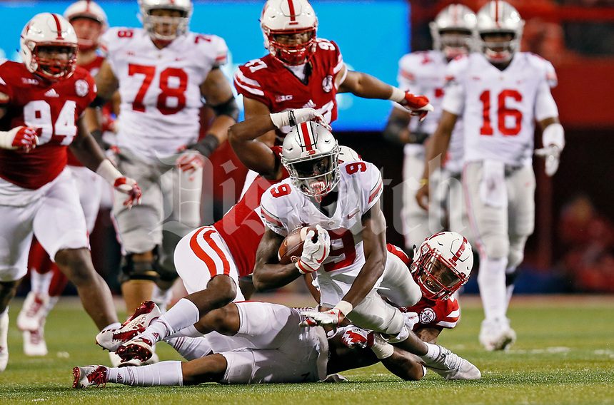 Ohio State Buckeyes wide receiver Binjimen Victor (9) gets extra yards after the catch against Nebraska Cornhuskers safety Joshua Kalu (46) during the 2nd quarter at Memorial Stadium in Lincoln, Neb on October 14, 2017.  [Kyle Robertson/Dispatch]
