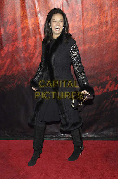 "LYNDA CARTER.World premiere of Walt Disney Pictures' and Jerry Bruckheimer Films "" National Treasure: Book of Secrets"" held at Ziegfeld Theater, New York, New York, USA..December 13th, 2007.full length linda black fur coat jacket lace bag purse boots mouth open  .CAP/ADM/BL.©Bill Lyons/AdMedia/Capital Pictures. *** Local Caption ***"