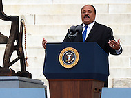 August 28, 2013  (Washington, DC)   Martin Luther King III speaks to a crowd of thousands on the grounds of the Lincoln Memorial in the District of Columbia during the closing commemoration of the 50th anniversary of the 1963 March on Washington August 28, 2013.  (Photo by Don Baxter/Media Images International)