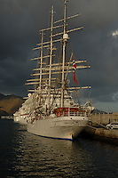 Tall masted ship Christian Radich docked in Santa Cruz harbour, Tenerife, Canary Islands.