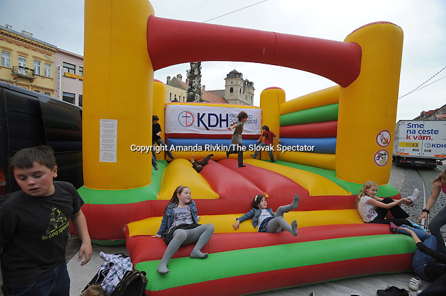 The Christian Democrats try to attract voters ahead of national parliamentary elections with a carnival-like atmosphere on the Main Street of Kosice, Slovakia on June 2, 2010.