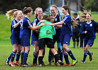 The Berkley girls' football team celebrate beating St Peter's in a penalty shootout during the AIMS games at Bay Arena in Mount Maunganui, New Zealand on Thursday, 14 September 2017. Photo: Dave Lintott / lintottphoto.co.nz