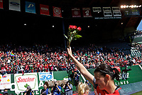 Portland, OR - Saturday April 15, 2017: Christine Sinclair holds roses after a regular season National Women's Soccer League (NWSL) match between the Portland Thorns FC and the Orlando Pride at Providence Park.