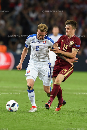 Ondrej Duda (Slovakia) Aleksandr Golovin (Russia) ; <br /> June 15, 2016 - Football : Uefa Euro France 2016, Group B, Russia 1-2 Slovakia at Stade Pierre Mauroy, Lille Metropole, France. (Photo by aicfoto/AFLO)