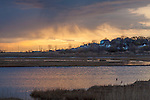A stormy sunrise over Belle Isla Marsh in East Boston, Massachusetts, USA