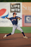 Connecticut Tigers shortstop Cole Peterson (20) throws to first base during a game against the Auburn Doubledays on August 9, 2017 at Falcon Park in Auburn, New York.  Connecticut defeated Auburn 6-4.  (Mike Janes/Four Seam Images)